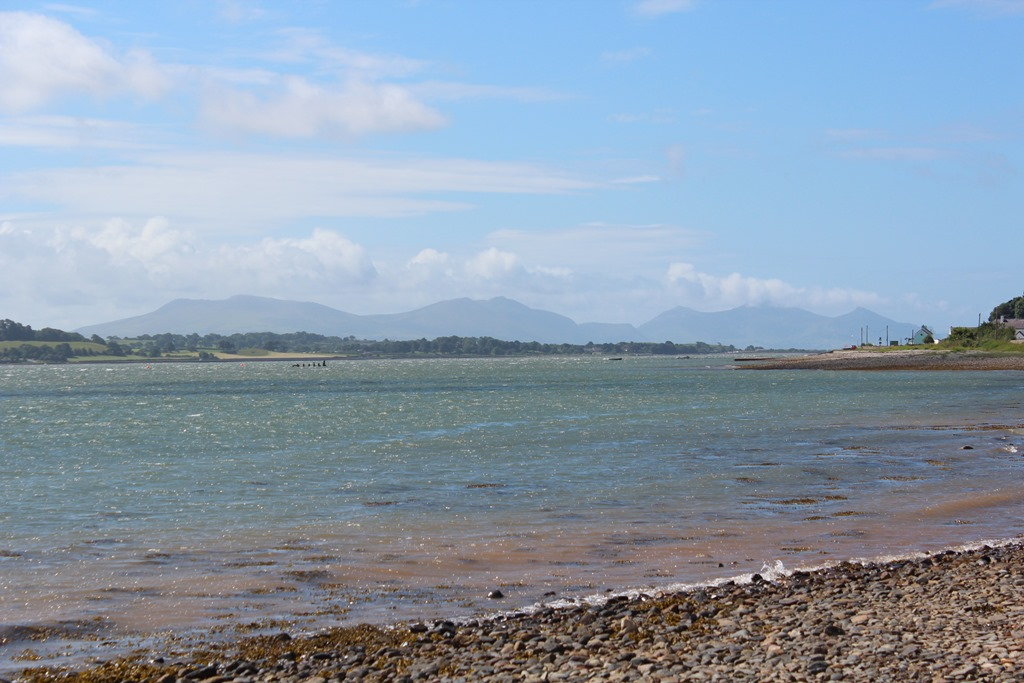 The mainland across the Menai Straits, south from the Sea Zoo